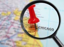 Крупный план карты Чикаго Стоковая Фотография RF
