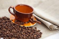 Кофейная чашка с сухими зажаренными в духовке фасолями Стоковое Фото