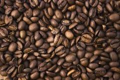 Крупный план кофейных зерен на деревянной предпосылке Стоковое фото RF