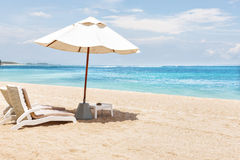 Крупный план кроватей и зонтиков солнца на песке стоковое фото rf