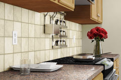 Крупный план кухни внутренний с красным цветом Стоковая Фотография RF