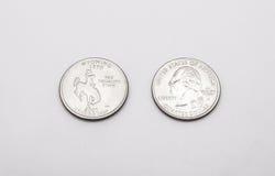 Крупный план к символу положения Вайоминга на монетке квартального доллара на белой предпосылке Стоковое Изображение RF