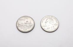 Крупный план к символу положения Вирджинии на монетке квартального доллара на белой предпосылке Стоковые Изображения