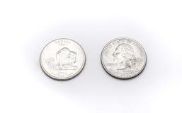 Крупный план к символу положения Канзаса на монетке квартального доллара на белой предпосылке Стоковая Фотография RF