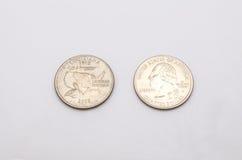 Крупный план к символу положения Луизианы на монетке квартального доллара на белой предпосылке Стоковая Фотография