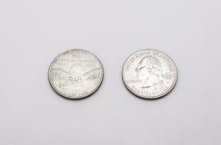 Крупный план к символу положения Миссури на монетке квартального доллара на белой предпосылке Стоковые Фото