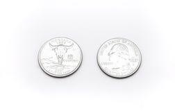 Крупный план к символу положения Монтаны на монетке квартального доллара на белой предпосылке Стоковые Фотографии RF