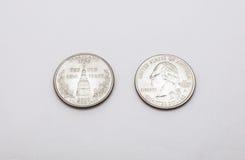 Крупный план к символу положения Мэриленда на монетке квартального доллара на белой предпосылке Стоковое Изображение