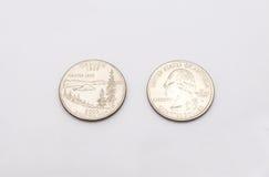 Крупный план к символу положения Орегона на монетке квартального доллара на белой предпосылке Стоковое Фото