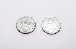 Крупный план к символу положения Теннесси на монетке квартального доллара на белой предпосылке Стоковая Фотография