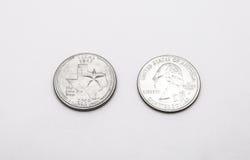 Крупный план к символу положения Техаса на монетке квартального доллара на белой предпосылке Стоковая Фотография RF