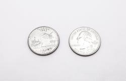 Крупный план к символу положения Флориды на монетке квартального доллара на белой предпосылке Стоковое фото RF
