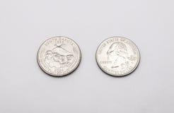 Крупный план к символу положения Южной Дакоты на монетке квартального доллара на белой предпосылке Стоковое Изображение RF