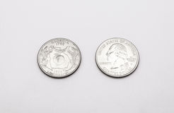 Крупный план к символу положения Georgia на монетке квартального доллара на белой предпосылке Стоковое Изображение
