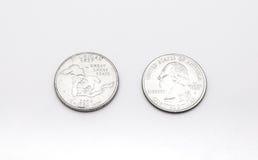 Крупный план к символу штата Мичиган на монетке квартального доллара на белой предпосылке Стоковые Фотографии RF