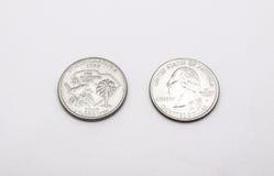 Крупный план к символу Южной Каролины на монетке квартального доллара на белой предпосылке Стоковое фото RF