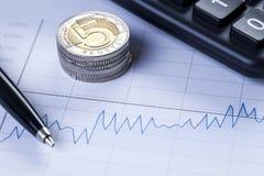 Крупный план монеток и диаграммы Стоковые Изображения