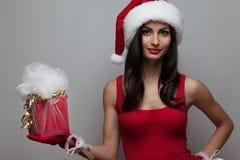 Крупный план модной девушки santa Стоковое фото RF