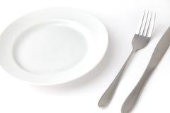 Вилка ножа и пустая плита Стоковая Фотография RF