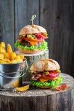 Крупный план домодельного бургера 2 с салатом, говядиной и сыром Стоковое Изображение RF