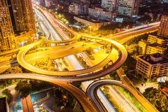 Крупный план дороги взаимообмена Стоковые Изображения RF