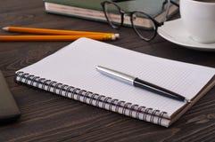 Крупный план открытой тетради с пустыми страницами и ручкой Стоковое Изображение