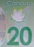 Крупный план долларовой банкноты канадца 20 Стоковые Фото