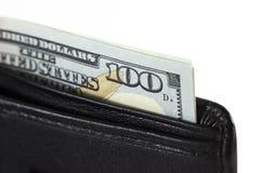 Крупный план 100 долларов в бумажнике Стоковое фото RF