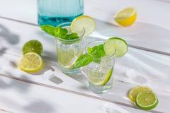 Крупный план питья лимона с льдом и мята листают Стоковые Изображения