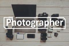 Крупный план положения квартиры рабочего места фотографа Стоковые Фото