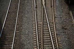Крупный план предпосылки железнодорожного пути отсутствие людей Стоковое фото RF