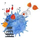 крупный план предпосылки осени красит красный цвет листьев плюща померанцовый Иллюстрация с цветками, акварель вектора иллюстрация штока