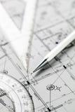 Крупный план проекта архитектора Стоковые Изображения RF