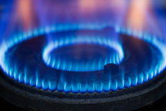 крупный план пламени газовой горелки Стоковое Изображение