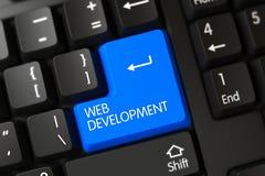 Крупный план развития сети голубой кнопки клавиатуры 3d Стоковые Изображения RF