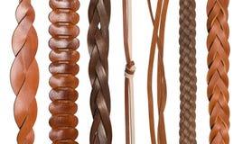 Крупный план различных кожаных поясов Стоковые Фотографии RF