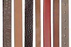 Крупный план различных кожаных поясов Стоковые Изображения