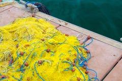 крупный план рыболовных сетей Предпосылка рыболовных сетей Стоковые Изображения