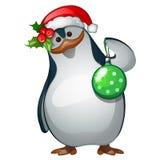 Крупный план Санты пингвина с игрушкой рождества бесплатная иллюстрация