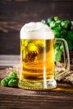 Крупный план свежего и холодного пива с пшеницей и хмелями Стоковые Фотографии RF