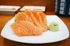 Крупный план свежего salmon сасими Стоковая Фотография RF