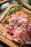 Крупный план свежей оленины подготовленный для жарить Стоковая Фотография RF