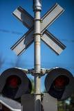 Крупный план скрещивания железной дороги Стоковые Фотографии RF