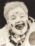Крупный план смеясь над клоуна Стоковое Фото