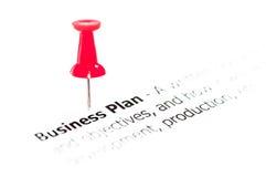 Крупный план снятый над бизнес-планом слов на бумаге Стоковые Изображения RF