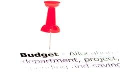 Крупный план снятый над бюджетом слова на бумаге Стоковое Изображение RF