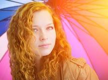Крупный план стороны девушки Redhead. Стоковая Фотография RF
