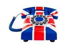 Крупный план телефона Великобританский телефон Телефон Юниона Джек с картиной британцев сигнализирует изолированный на белой пред Стоковая Фотография RF