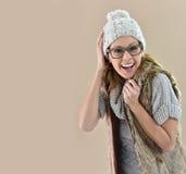 Крупный план ультрамодной модели в clothers собрания зимы Стоковое Изображение
