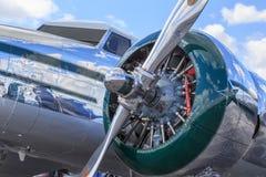 Крупный план фюзеляжа Lockheed отполированного Electra Стоковая Фотография RF